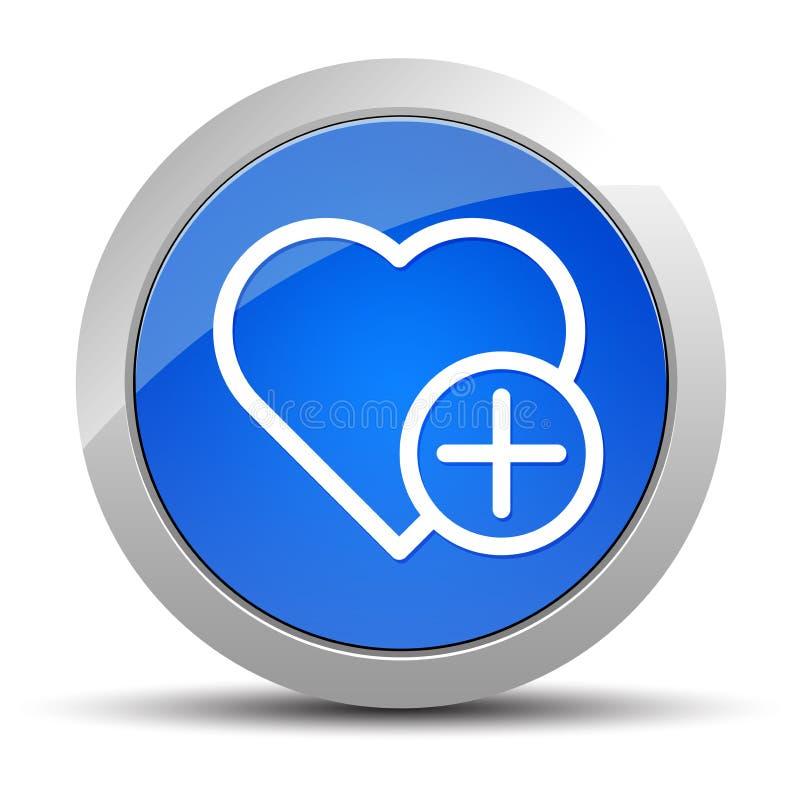 Añada el ejemplo redondo azul del botón del icono preferido del corazón stock de ilustración