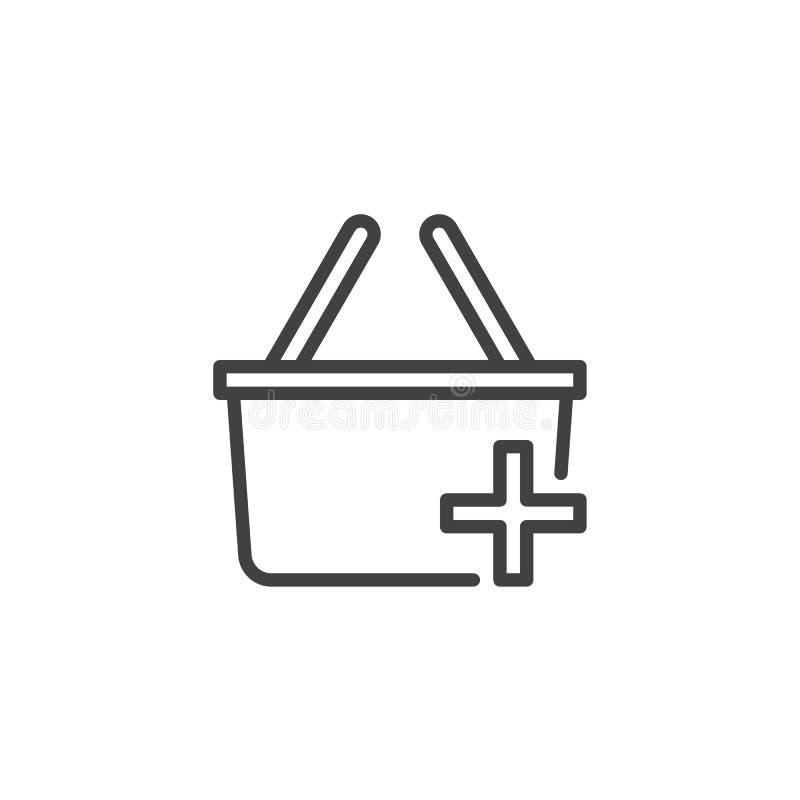 Añada el icono del esquema de la cesta que hace compras ilustración del vector