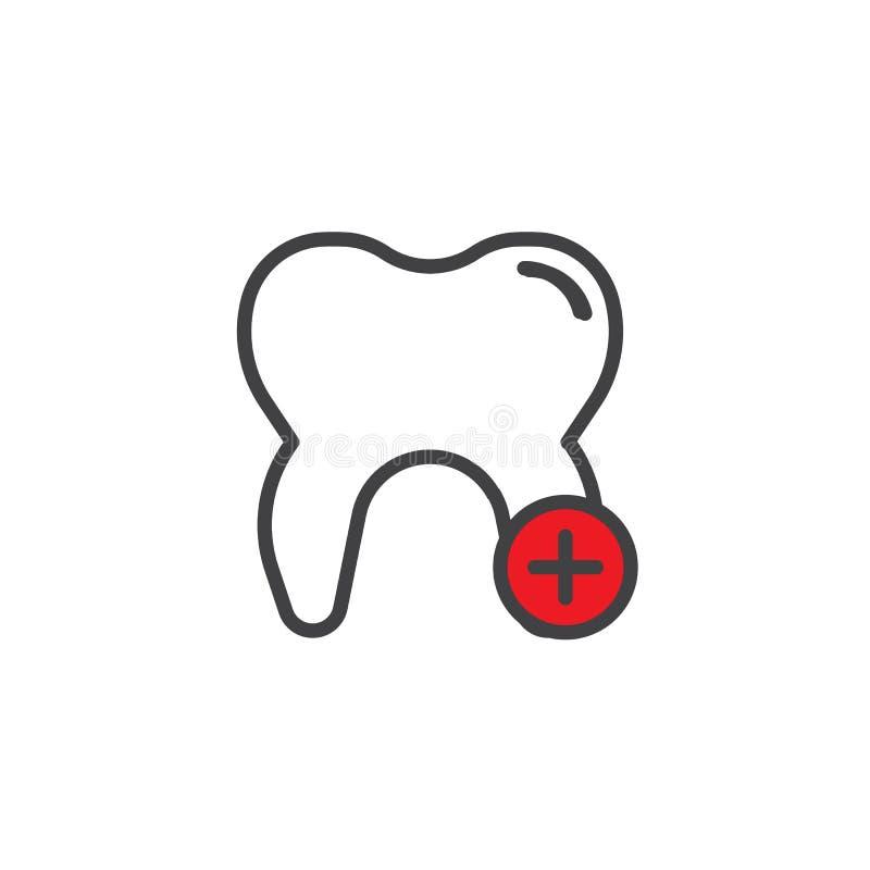Añada el icono llenado diente del esquema libre illustration