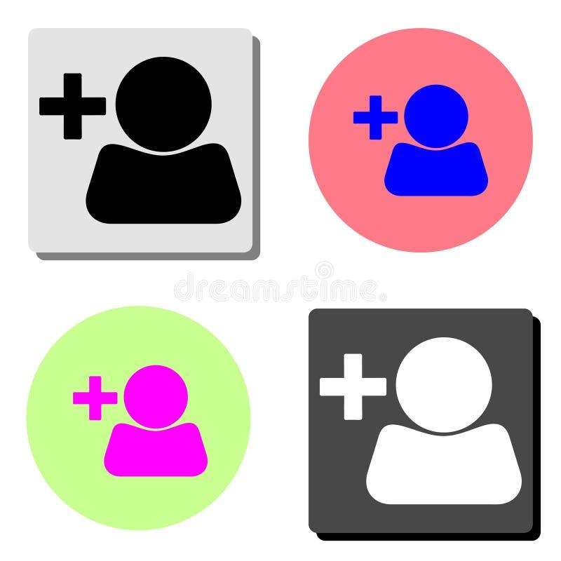 Añada el perfil de usuario Icono plano del vector stock de ilustración