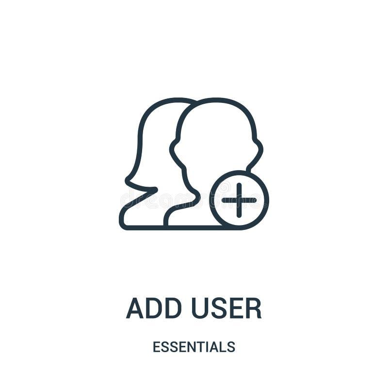 añada el vector del icono del usuario de la colección del esencial La línea fina añade el ejemplo del vector del icono del esquem stock de ilustración