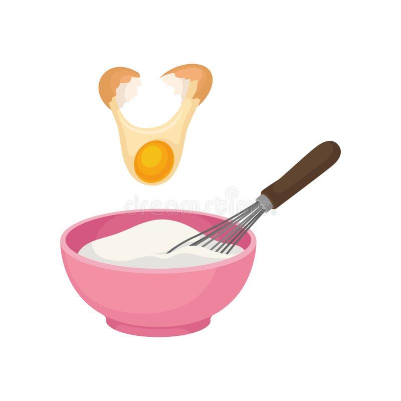 Añada la yema de huevo al cuenco por completo de pasta y con un batidor Ilustraci?n del vector ilustración del vector