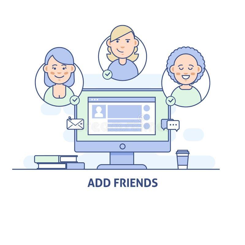 Añada a los amigos Icono social de la red social medios en la línea estilo fina ilustración del vector