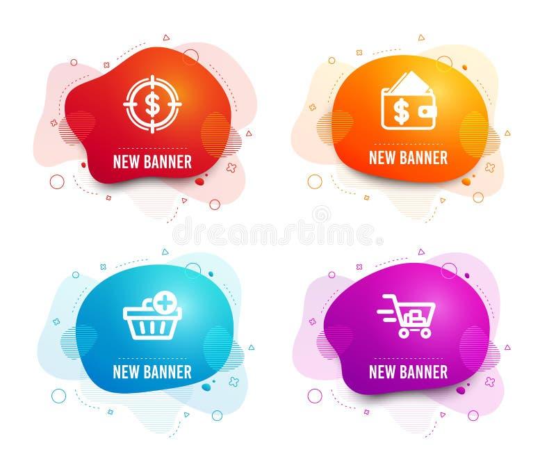 Añada los iconos de la compra, de la blanco de la cartera y del dólar Muestra del carro de la compra Orden de las compras, asequi stock de ilustración