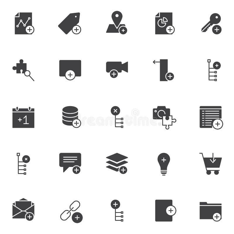 Añada los iconos del vector de los elementos fijados