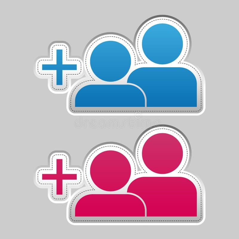 Añada una etiqueta engomada del amigo - ejemplo metálico azul y rosado de plata del vector - aislada en Gray Background stock de ilustración