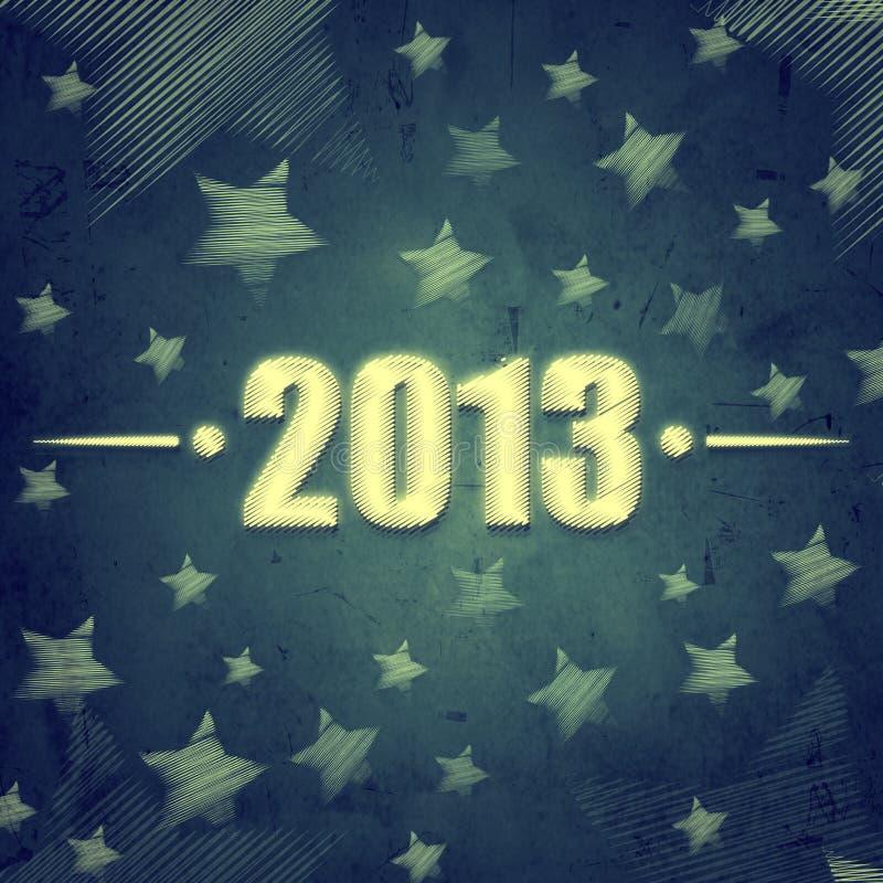 Año 2013 sobre fondo retro azul con las estrellas stock de ilustración