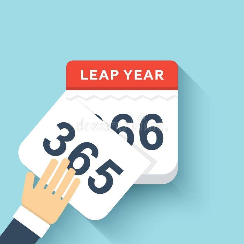 Año bisiesto plano del estilo del calendario 366 días Diseño 2016 de los calendarios ilustración del vector