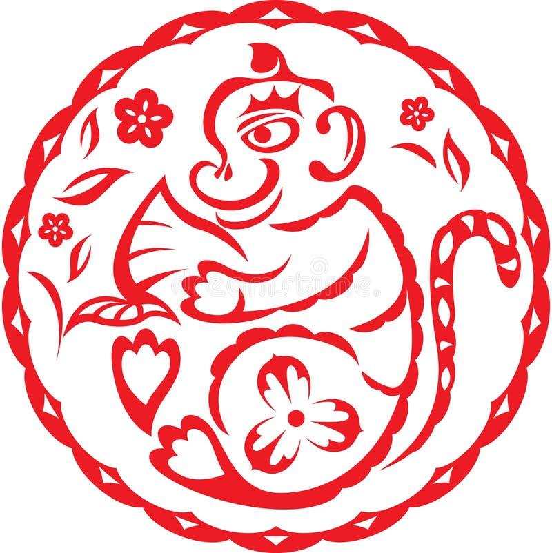Año chino de mono ilustración del vector