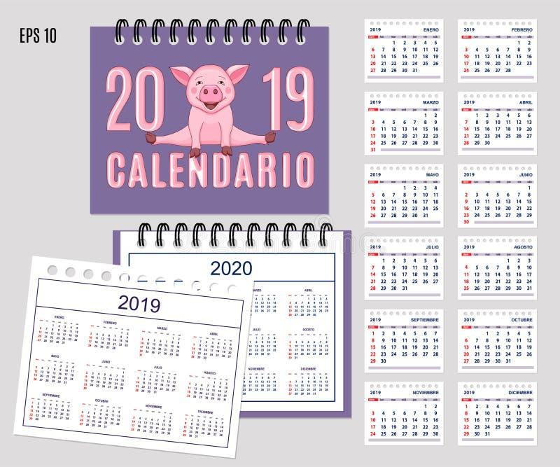 Año civil español espiral 2019, 2020 con guarro lindo ilustración del vector