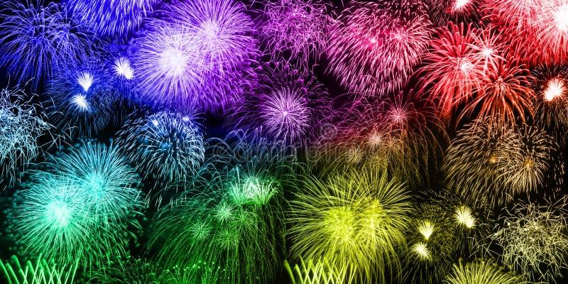 Año colorido f de los años de la bandera del fondo de los fuegos artificiales de Nochevieja imagen de archivo libre de regalías