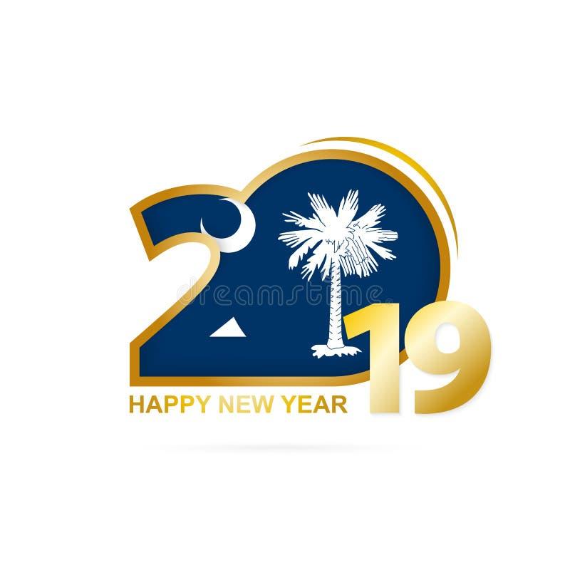 Año 2019 con el modelo del sur de Carolina Flag Diseño de la Feliz Año Nuevo stock de ilustración