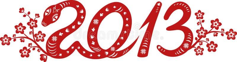 Año de 2013 serpientes ilustración del vector