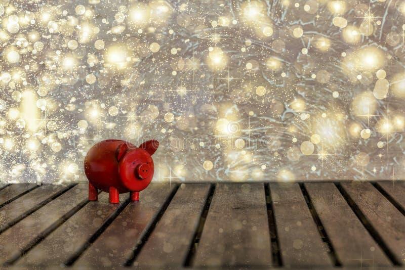 2019, año de cerdo, venta de la Navidad, venta-hacia fuera, copos de nieve de oro, foto de archivo
