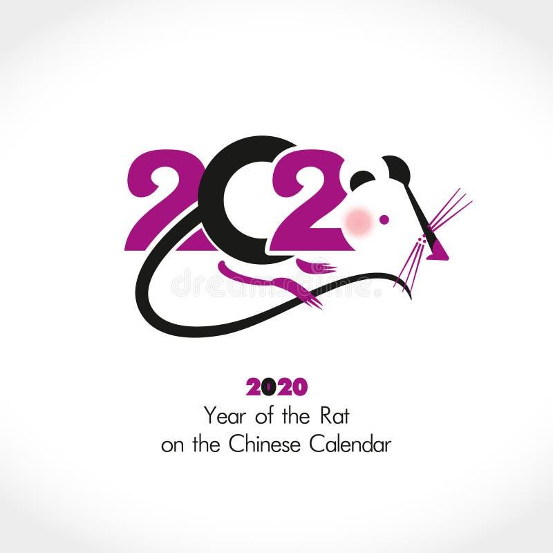 Año de la rata 2020 en el calendario chino ilustración del vector