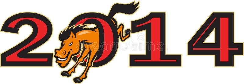 Año de lado de salto del caballo 2014 stock de ilustración