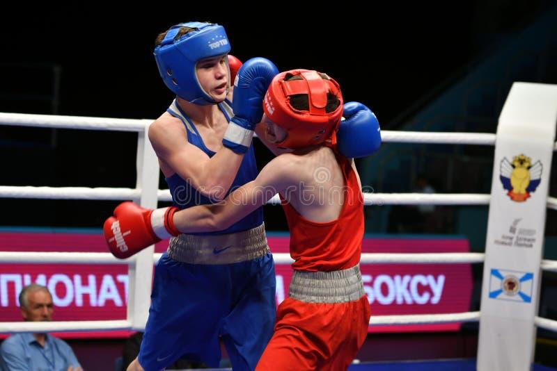 Año de Orenburg, Rusia 6 de mayo de 2017: Los boxeadores de los muchachos compiten imágenes de archivo libres de regalías