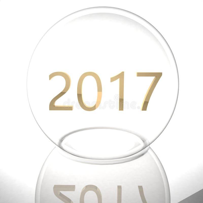 Año 2017 debajo de la bola de cristal stock de ilustración