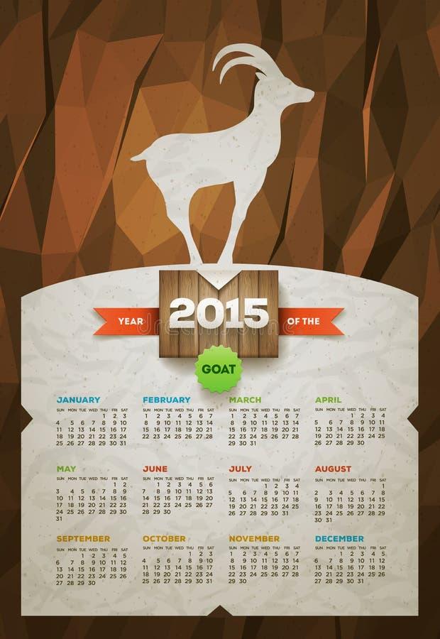 Año del calendario de la cabra 2015 stock de ilustración
