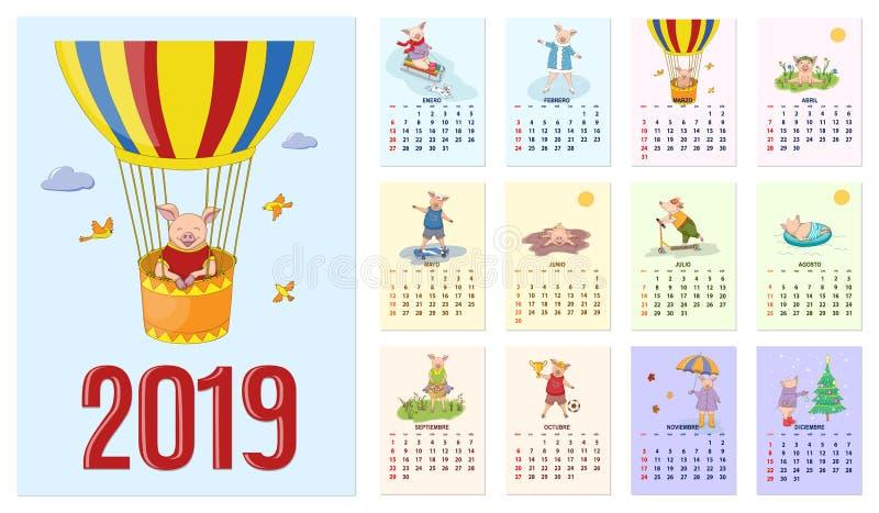 Año 2019 del cerdo del calendario con el sistema de español de doce meses ilustrada de las páginas stock de ilustración