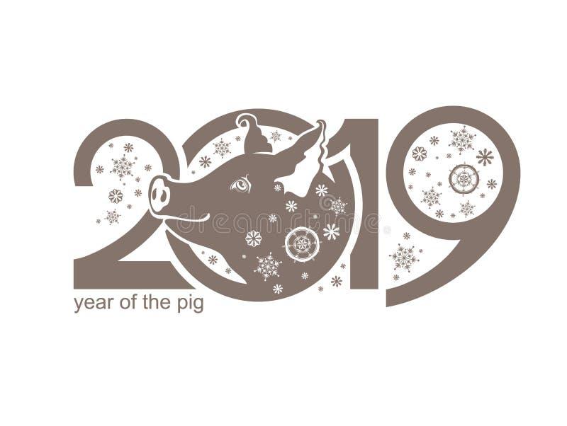 Año del cerdo 2019 Cochinillo lindo y ejemplo plano de los copos de nieve libre illustration