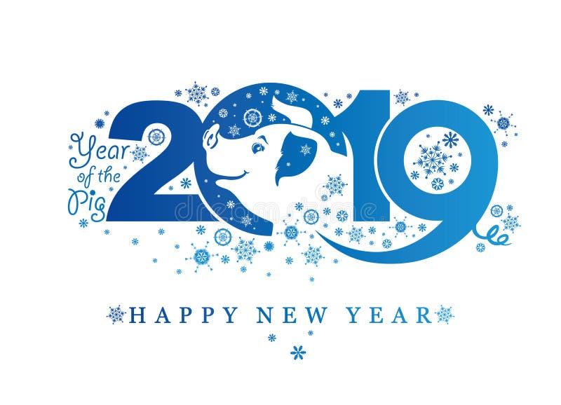 Año del cerdo 2019 Modelo azul con los copos de nieve stock de ilustración