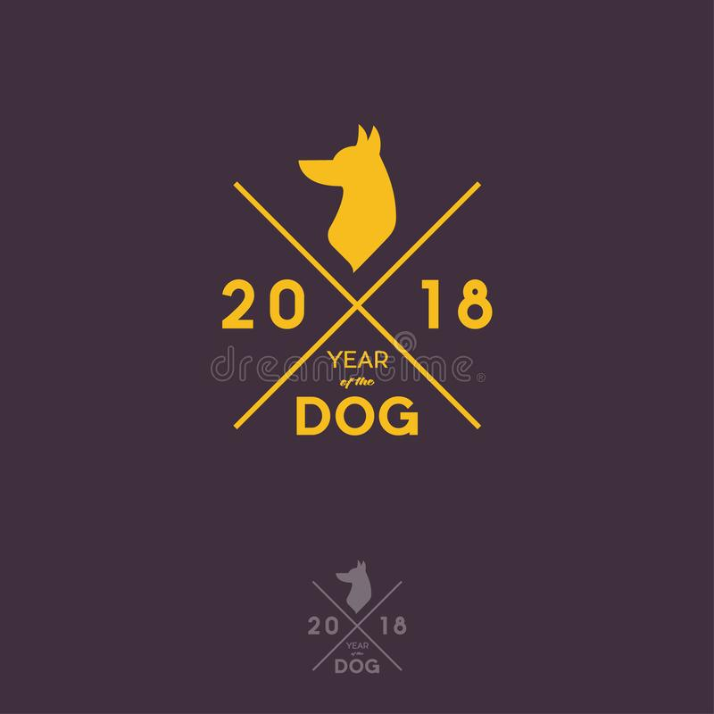 Año del logotipo del inconformista del perro 2018 Una silueta de un perro con las letras libre illustration