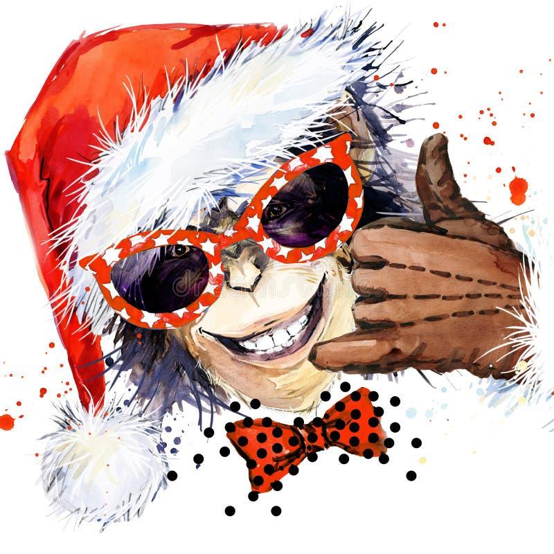 Año del mono Partido fresco del mono Ilustración de la acuarela Mono Santa Claus libre illustration