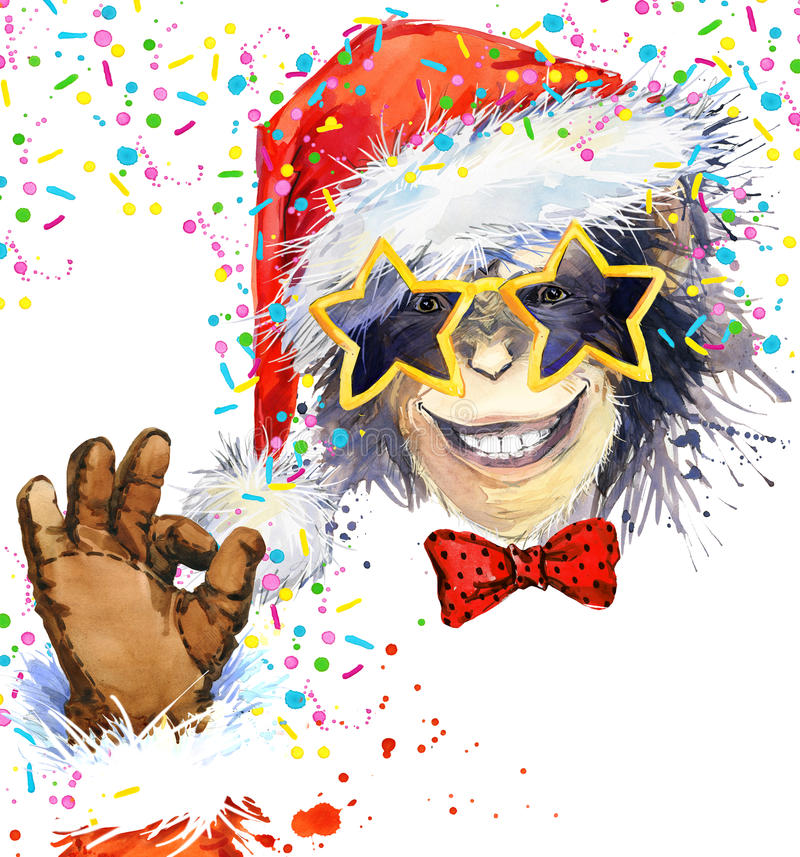 Año del mono Partido fresco del mono Ilustración de la acuarela Mono Santa Claus ilustración del vector