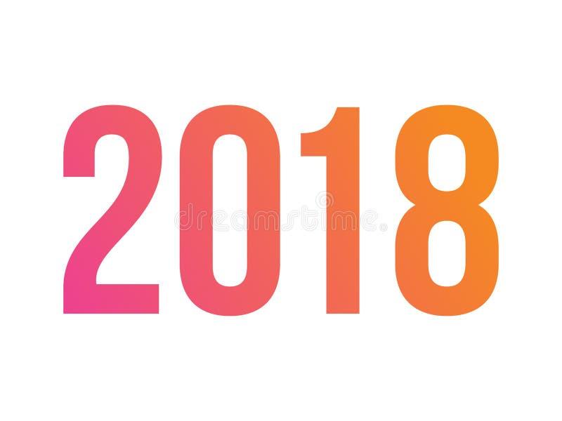 Año estándar 2018 de la palabra de la fuente de la pendiente del vector libre illustration