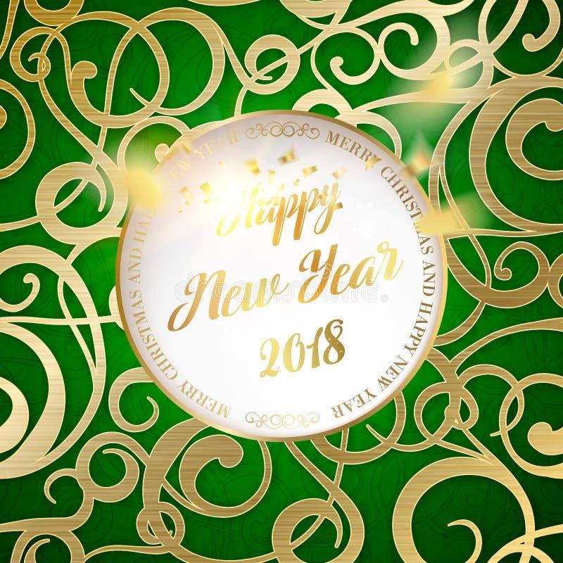 Año feliz 2018 del tejo stock de ilustración