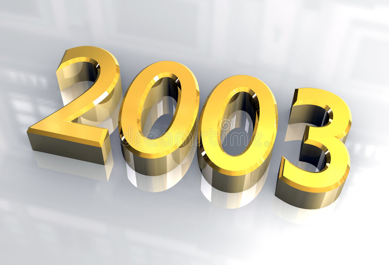 Año Nuevo 2003 en el oro (3D) libre illustration