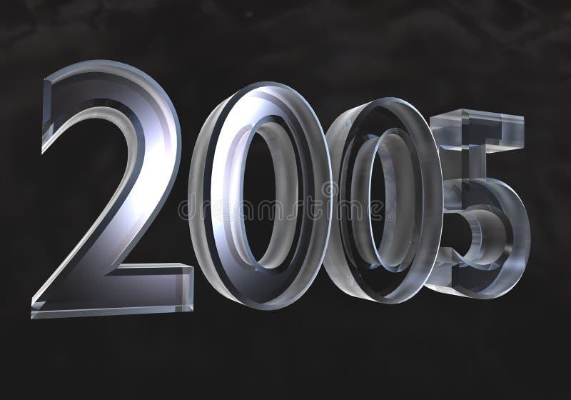 Año Nuevo 2005 en el vidrio (3D) stock de ilustración