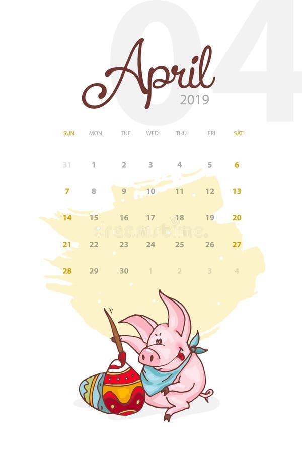 Año Nuevo 2019 Calendario creativo para abril con el cerdo lindo Concepto, plantilla editable vertical del vector ilustración del vector
