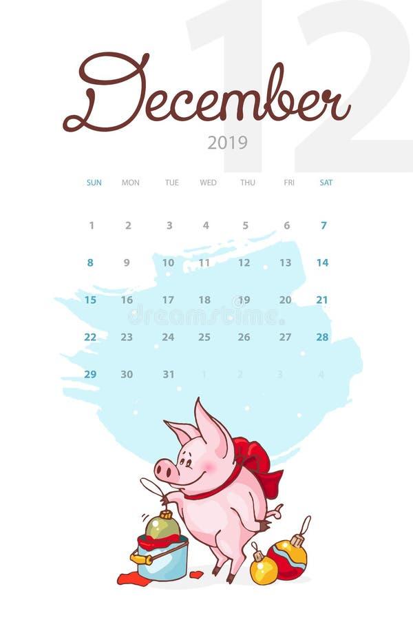 Año Nuevo 2019 Calendario creativo para diciembre con el cerdo lindo Concepto, plantilla editable vertical del vector libre illustration