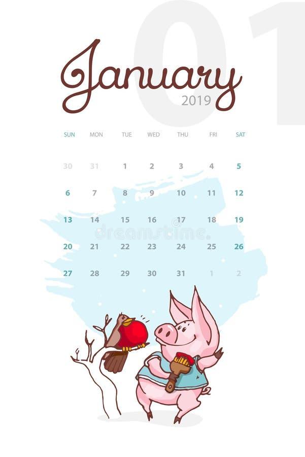 Año Nuevo 2019 Calendario creativo para enero con el cerdo lindo Concepto, plantilla editable vertical del vector ilustración del vector