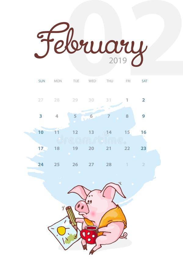 Año Nuevo 2019 Calendario creativo para febrero con el cerdo lindo Concepto, plantilla editable vertical del vector stock de ilustración