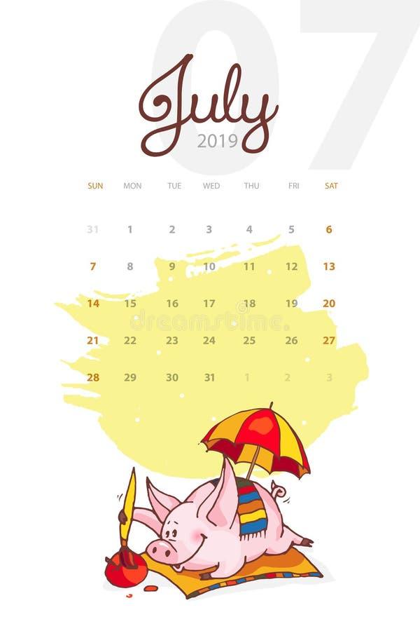Año Nuevo 2019 Calendario creativo para julio con el cerdo lindo Concepto, plantilla editable vertical del vector stock de ilustración