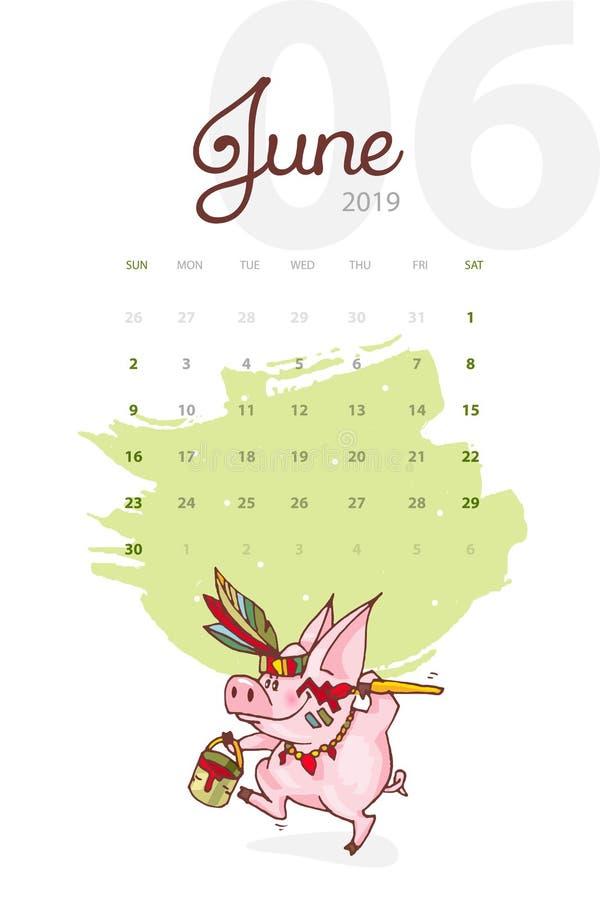 Año Nuevo 2019 Calendario creativo para junio con el cerdo lindo Concepto, plantilla editable vertical del vector stock de ilustración