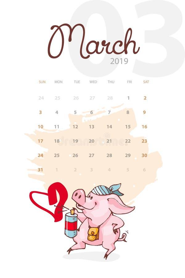 Año Nuevo 2019 Calendario creativo para marzo con el cerdo lindo Concepto, plantilla editable vertical del vector libre illustration