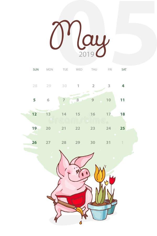 Año Nuevo 2019 Calendario creativo para mayo con el cerdo lindo Concepto, plantilla editable vertical del vector Símbolo del año  stock de ilustración