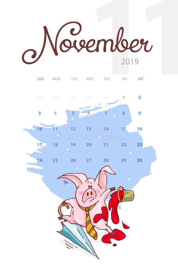 Año Nuevo 2019 Calendario creativo para noviembre con el cerdo lindo Concepto, plantilla editable vertical del vector ilustración del vector