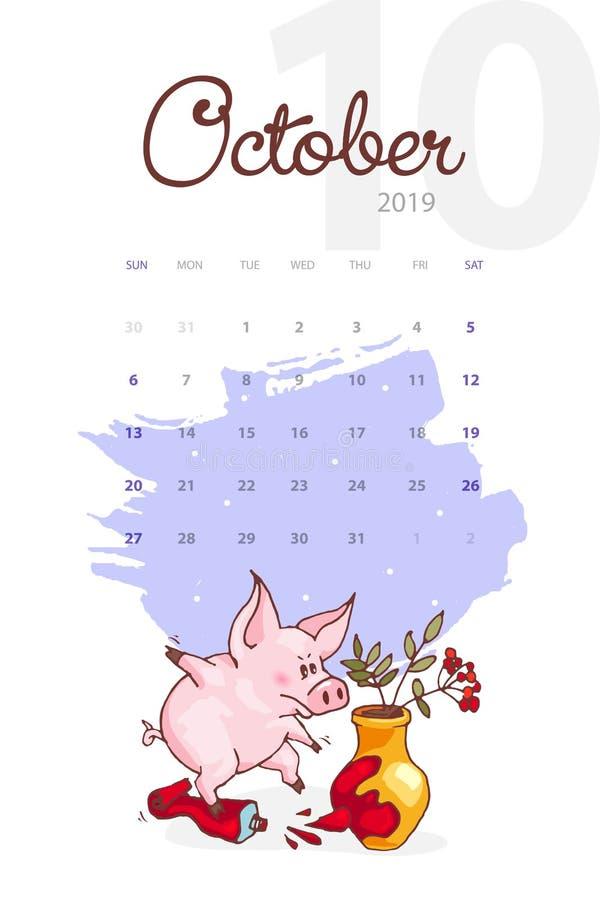 Año Nuevo 2019 Calendario creativo para octubre con el cerdo lindo Concepto, plantilla editable vertical del vector ilustración del vector