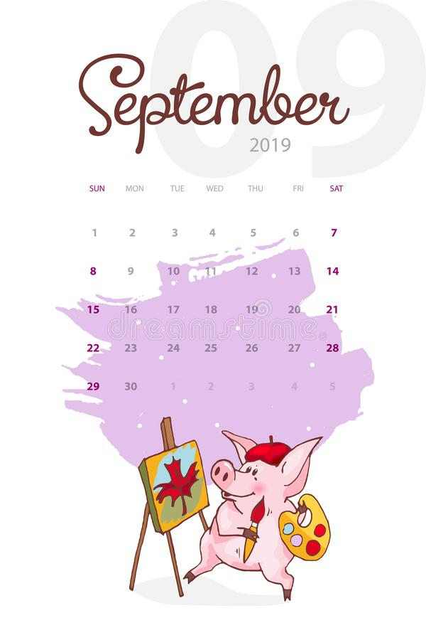 Año Nuevo 2019 Calendario creativo para septiembre con el cerdo lindo Concepto, plantilla editable vertical del vector stock de ilustración