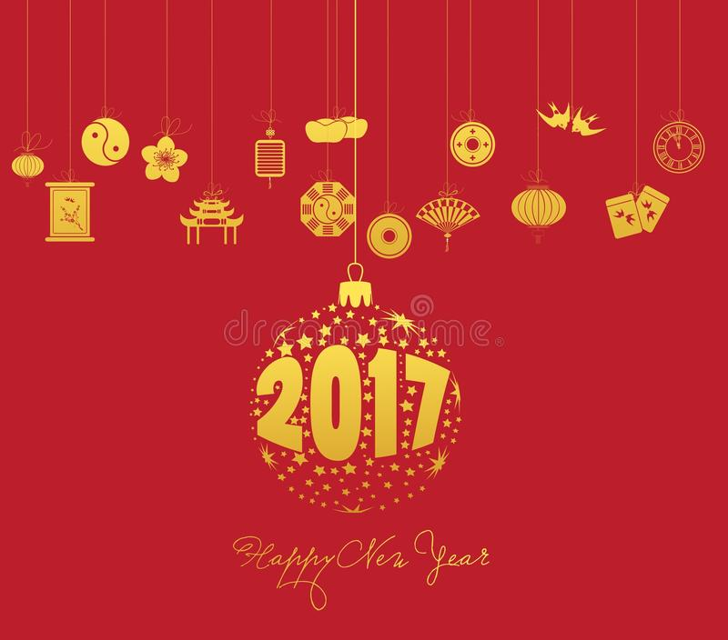 Año Nuevo chino 2017 con la bola de la Navidad stock de ilustración
