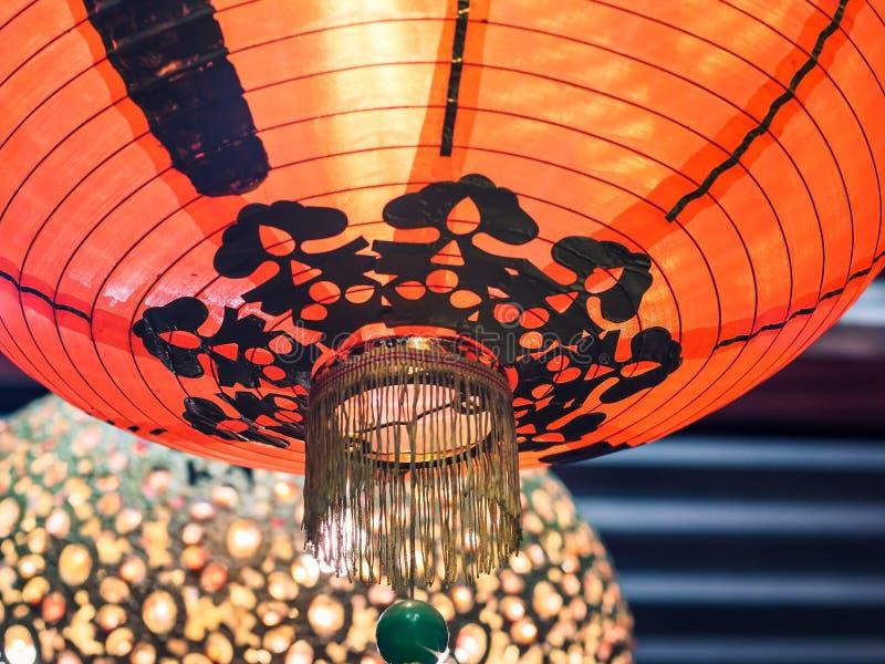 Año Nuevo chino de la decoración roja de la linterna de papel para el fondo tradicional hermoso afortunado fotos de archivo libres de regalías