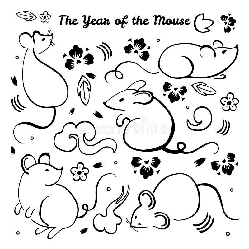 Año Nuevo chino 2020 Ejemplo del cepillo del vector con diversos caracteres animales, los elementos decorativos y las flores ilustración del vector