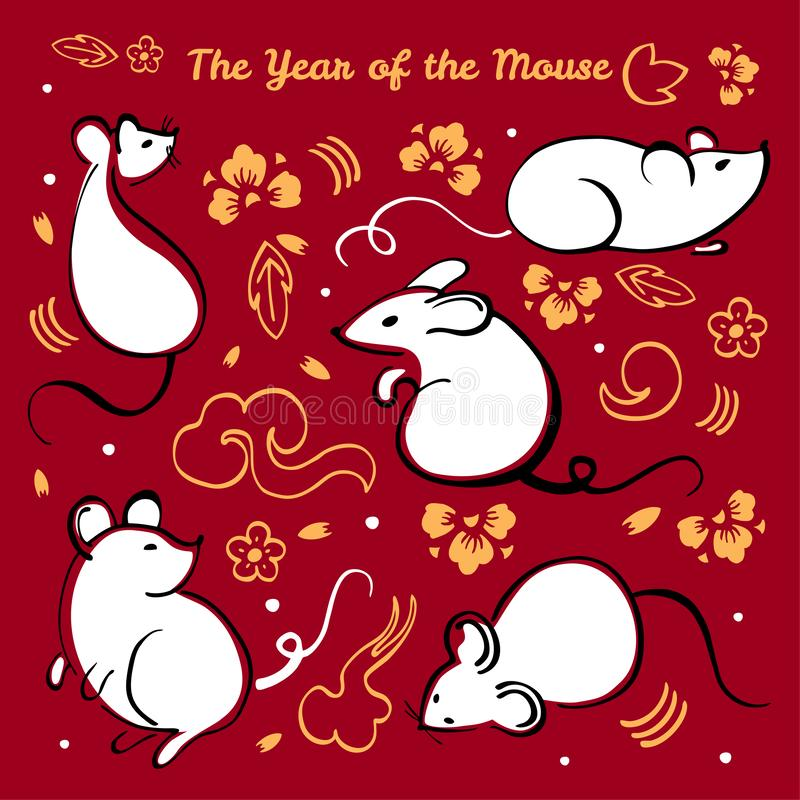 Año Nuevo chino 2020 Ejemplo del vector fijado con diversos caracteres animales, los elementos decorativos y las flores en fondo  ilustración del vector