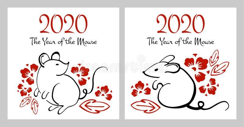 Año Nuevo chino 2020 El año del ratón o de la rata Ejemplo exhausto del cepillo de la mano del esquema del vector con los ratones ilustración del vector