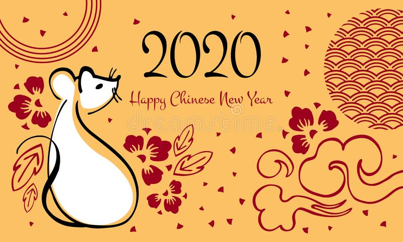 Año Nuevo chino 2020 El año del ratón o de la rata Ejemplo del vector con el ratón que se sienta, el saludo y las flores decorati ilustración del vector